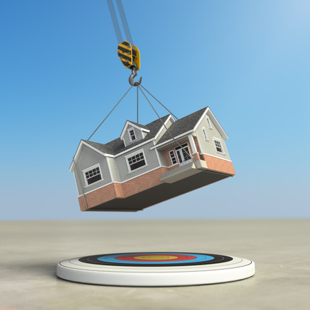 initial: Moving  home. Crane with house and target. Change of residence. Real estate concept. 3d illustration