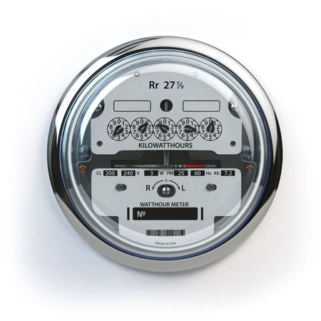 Analog electric meter isolated on white.  Electricity consumption concept. 3d illustration Stok Fotoğraf - 59994562