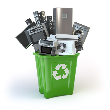 commercial recycling: Old kitchen appliances in the rubbish bin isolated on white. Time to change home technics. Recycling concept. 3d illustration