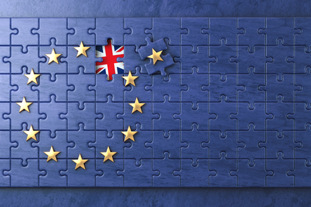 skepticism: Brexit concept. Puzzle with EU European Union flag  without Great Britain  UK star. 3d illustration
