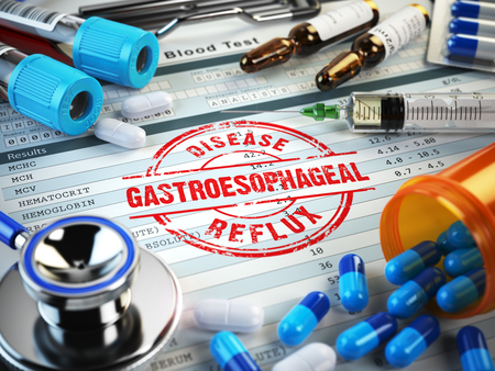 reflux: Gastroesophageal reflux disease diagnosis. Stamp, stethoscope, syringe, blood test and pills on the clipboard with medical report. 3d illustration