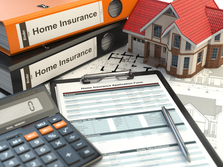 tax policy: Home insurance form, house, calculator and binders, 3d illustration Stock Photo