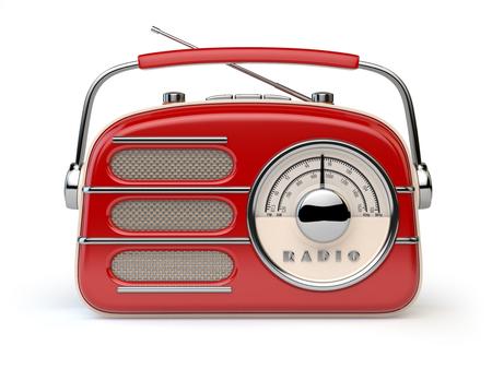 Red vintage retro radio receiver isolated on white. 3d illustration 写真素材