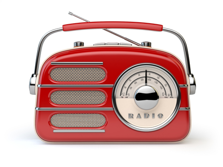 Red vintage retro radio receiver isolated on white. 3d illustration 스톡 콘텐츠