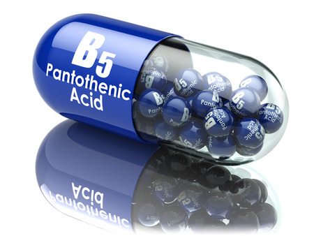 supplements: Vitamin B5 capsule. Pill with pantothenic acid. Dietary supplements. 3d illustration