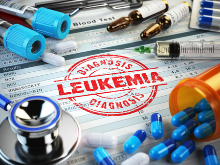 diagnosis: Leukemia diagnosis. Stamp, stethoscope, syringe, blood test and pills on the clipboard with medical report. 3d illustration