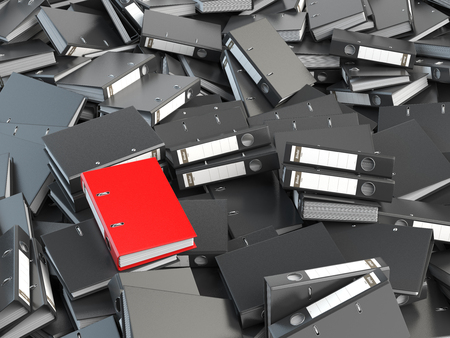 mess: One red office binder and pile of black others.  Archive. File searching concept. 3d illustration