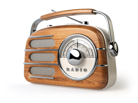 retro radio: Vintage retro radio receiver isolated on white. 3d illustration