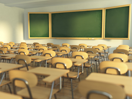 empty classroom: School classroom with empty school chairs and blackboard. Back to school concept. 3d illustration