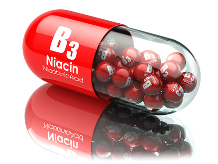 Vitamin B3 capsule. Pill with Niacin or nicotinic acid. Dietary supplements. 3d illustration Foto de archivo