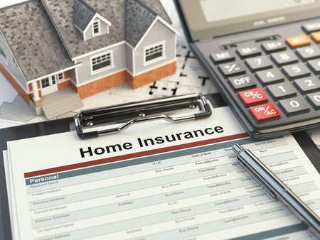 Home insurance form, house, calculator and binders, 3d illustration 스톡 콘텐츠