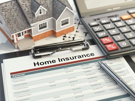 Home insurance form, house, calculator and binders, 3d illustration Zdjęcie Seryjne