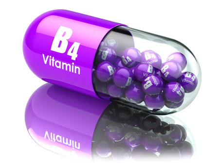 dietary: Vitamin B4 capsule or pill. Dietary supplements. 3d illustration