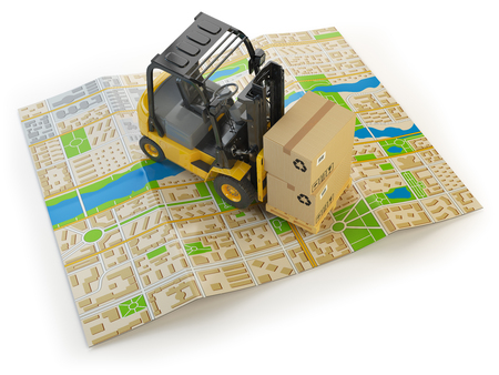 fork lifts trucks: Forklift with cardboard boxes on the city map isolated on white.  Cargo delivery concept. 3d illustration