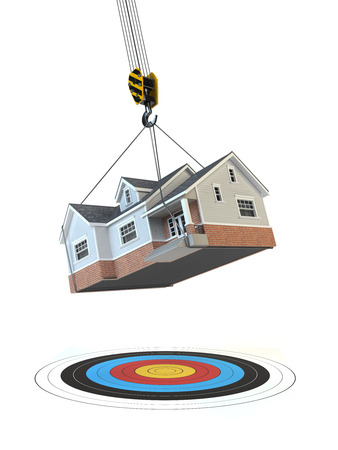 crane: Moving  home. Crane with house and target isolated on white. Change of residence. Real estate concept. 3d illustration