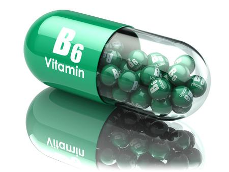 Vitamin B6 Kapsel oder Pille. Nahrungsergänzungsmittel. 3D-Darstellung Lizenzfreie Bilder