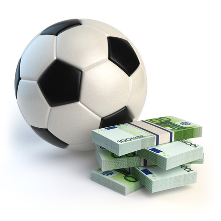 Soccer or football ball and packs of euro isolated on white. Sport bets concept. 3d illustration Stock Photo