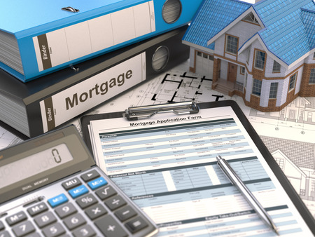 tax policy: Mortgage application form, house, calculator and binders, 3d illustration Stock Photo