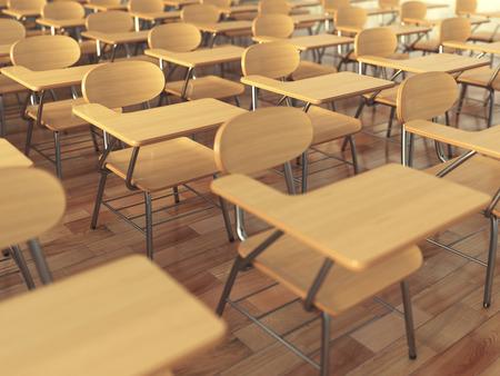 school classroom: School classroom with empty school chairs and blackboard. Back to school concept. 3d illustration