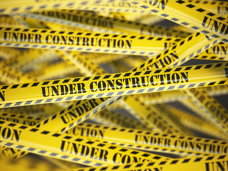 restricted area sign: Under construction yellow caution  tape background. 3d illustration