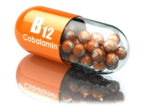 Vitamin B12-Kapsel. Pille mit Cobalamin. Nahrungsergänzungsmittel. 3D-Darstellung Standard-Bild