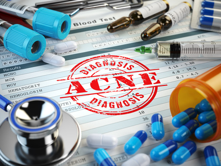 hormonal: ACNE  diagnosis. Stamp, stethoscope, syringe, blood test and pills on the clipboard with medical report. 3d illustration Stock Photo