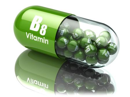 vitamina a: La vitamina B8 cápsula. Suplementos dietéticos. 3d ilustración