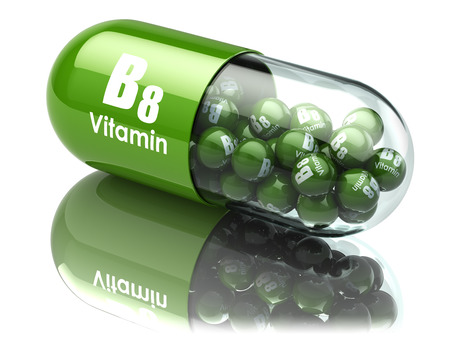 Vitamine B8 capsule. Voedingssupplementen. 3d illustratie