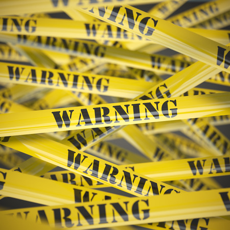 advertencia: Advertencia fondo amarillo cinta de precaución. Concepto de seguridad. 3d ilustración