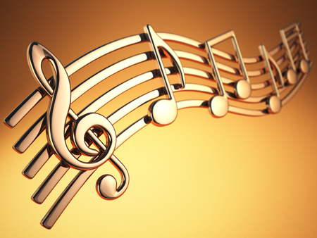 background music: Golden music notes and treble clef on musical strings on yellow background. 3d illustration