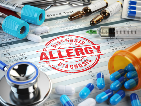 immunotherapy: Allergy diagnosis. Stamp, stethoscope, syringe, blood test and pills on the clipboard with medical report. 3d illustration