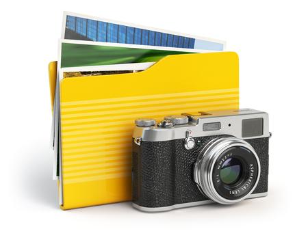 folder: Photo album pc folder icon. Photo camera and folder isolated on white. 3d illustration