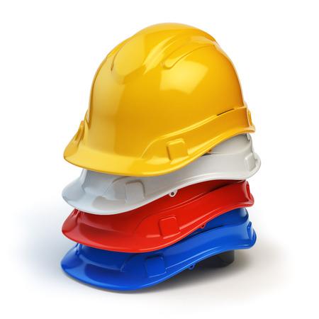 hard: Various hard hats, safety helmets isolated on white. 3d illustration