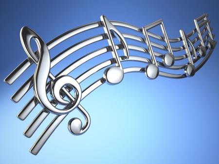 Note musicali d'argento e clef a trefoli su stringhe musicali su sfondo blu. Illustrazione 3d