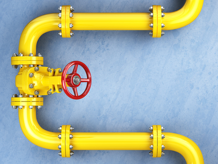gas pipeline: Yellow gas pipeline valve on a blue wall. Space for text. 3d illustration Stock Photo