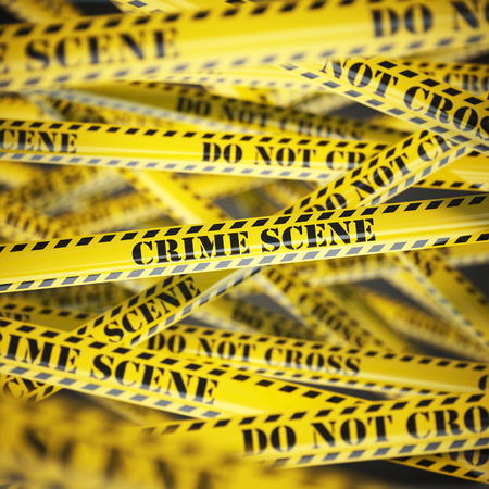 fbi: Crime scene yellow caution  tape background. Security concept. 3d illustration