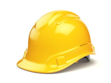 Gele bouwvakker, veiligheidshelm op wit wordt geïsoleerd. 3d illustratie Stockfoto - 64134003