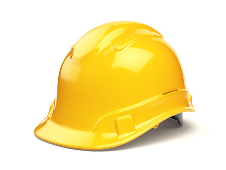 helmet: Yellow hard hat, safety helmet isolated on white. 3d illustration