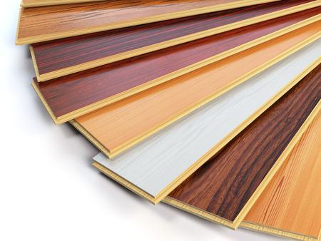 Parquet o laminato assi di legno dei diversi colori su sfondo bianco. illustrazione 3D