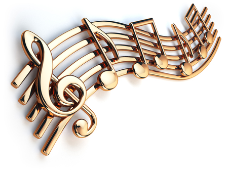 Golden music notes and treble clef on musical strings isolated on white. 3d illustration 스톡 콘텐츠