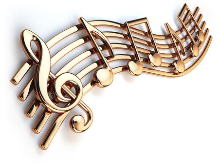 Zlaté noty a houslový klíč na hudební struny na bílém. 3d ilustrační