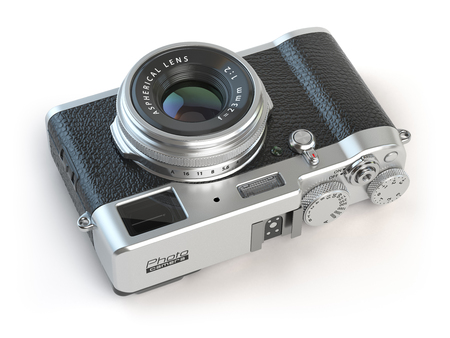 multiple exposure: Retro vintage camera  isolated on white. 3d illustration Stock Photo