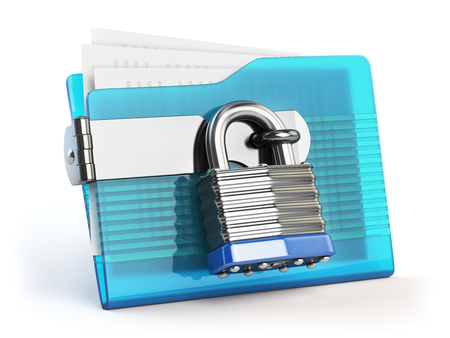 lock concept: Folder and lock. Data and privacy security concept. Information protection. 3d illustration