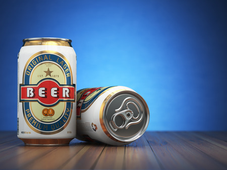 tin packaging: Beer cans on blue  background. 3d illustration
