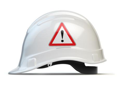 hard: White hard hat, safety helmet isolated on white. 3d illustration