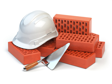 costruction: Hardhat,  bricks and trowel  isolated on white. Costruction concept. 3d illustration