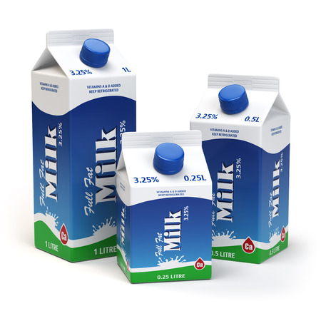 food packaging: Milk carton packs isolated on white. Milk boxes. 3d illustration Stock Photo