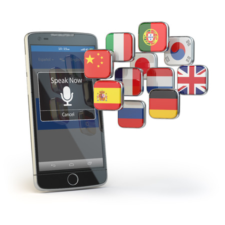 translator: Mobile dictionary or translator concept . Learning languages online. E-learning. Smartphone with flags isolated on white. 3d illustration
