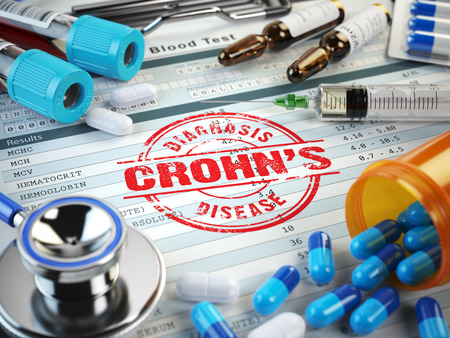 Crohn?s disease diagnosis. Stamp, stethoscope, syringe, blood test and pills on the clipboard with medical report. 3d illustration