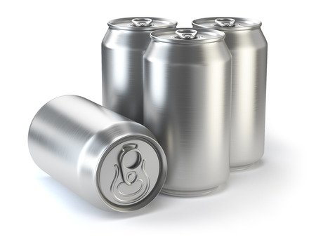 Aluminium beer cans  isolated on white. 3d illustration Stock Photo